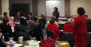 Jeanne Schuler leads discussion